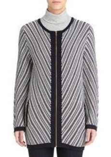 Long Sleeve Zip Front Cardigan (Plus)
