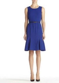 Malibu Blue Paneled Dress with Ruffled Hem