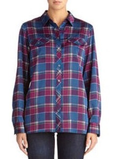 Matte Satin Plaid Safari Shirt (Plus)