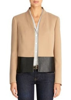 Mixed Media Jacket with High Collar