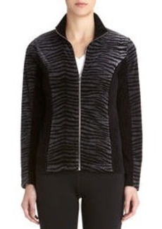 Mock Neck Zebra Print Jacket