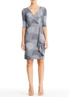 Navy Blue and White Ringed Faux Wrap Dress