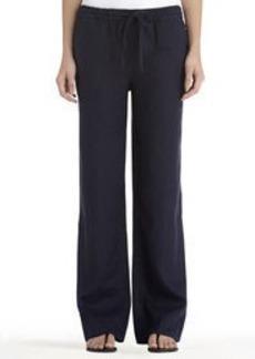 Navy Blue Linen Pull-On Pants