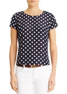 Navy Blue Tee Shirt with White Polka Dots