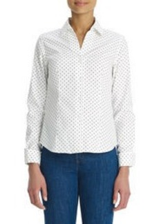 No-Iron, Easy-Care Fitted Polka-Dot Shirt