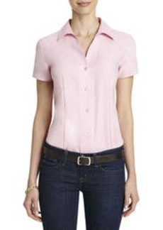 No-Iron Easy-Care Fitted Short-Sleeve Shirt