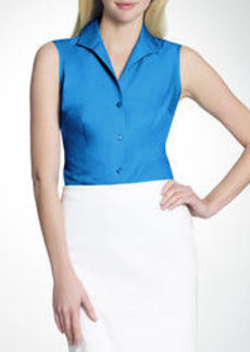 No-Iron Easy-Care Fitted Sleeveless Shirt