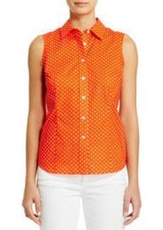 Non-Iron Easy-Care Sleeveless Cotton Shirt