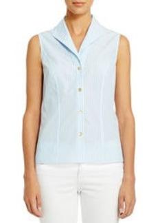 Non-Iron Easy-Care Striped Sleeveless Shirt