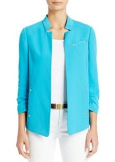 Notched Lapel Jacket with Ruched Sleeves