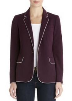 One-Button Blazer with Contrast Piping