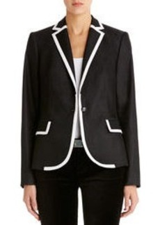 One-Button Blazer with Contrast Piping (Petite)