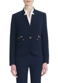 One-Button Blazer with Rivet Details