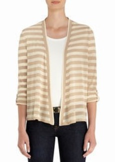 Open-Front Cardigan Sweater with Roll Cuffs
