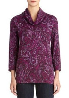 Paisley Print Cowl Neck Pullover
