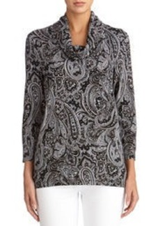 Paisley Print Cowl Neck Pullover (Plus)