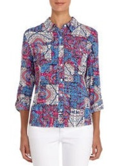 Paisley Print Shirt with Roll Sleeves