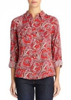 Paisley Print Shirt with Roll Sleeves (Plus)