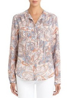 Paisley Tie Neck Blouse (Plus)
