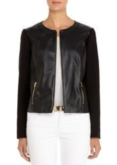 Perforated Black Faux Leather Jacket (Petite)