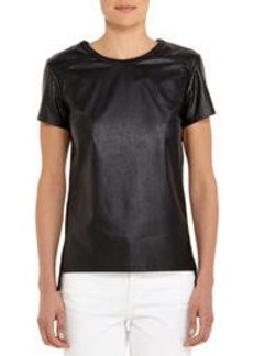 Perforated Black Faux Leather Tee Shirt