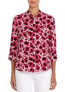 Pink and Ivory Floral Shirt with Roll Sleeves (Plus)