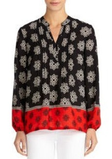 Pintucked Blouse with Border Print