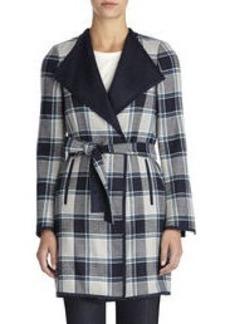 Plaid Coat with Self Belt