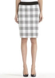 Plaid Pencil Skirt with Hem Slits