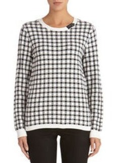 Plaid Pullover Sweater with Faux Leather Detail