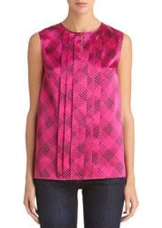 Pleat Front Blouse with Round Neck
