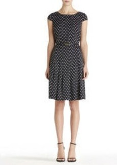 Pleat Front Dress with Cap Sleeves