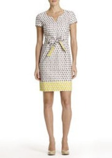 Polka-Dot Dress with Cap Sleeves and Self-Belt