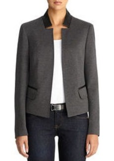 Ponte Knit Blazer with Faux Leather Trim