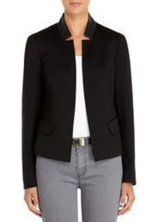 Ponte Knit Blazer with Faux Leather Trim (Petite)