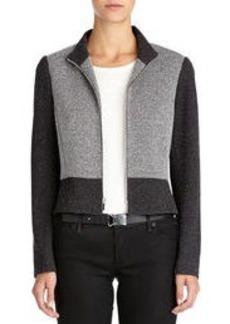 Ponte Knit Mock-Neck Moto Jacket