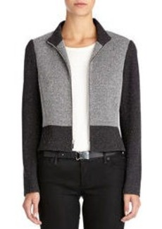 Ponte Knit Mock-Neck Moto Jacket