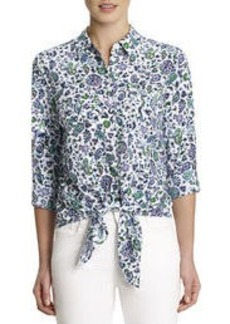 Print Blouse with Tie Front (Petite)