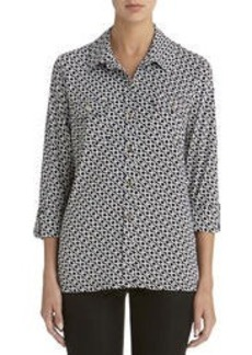 Print Shirt with Roll Tab Sleeves