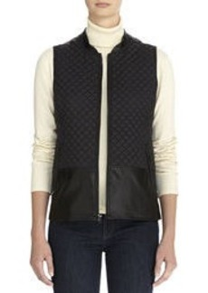 Quilted Vest with Faux Leather Accents