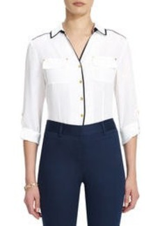 Safari Shirt with Contrast Trim and Roll Sleeves (Petite)