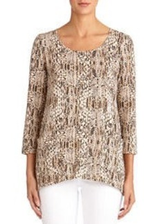 Scoop Neck Blouse with 3/4 Sleeves