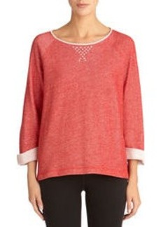 Scoop Neck Cotton Pullover with Studs (Petite)