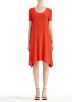 Scoop Neck Dress with Asymmetrical Hem (Plus)