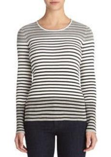 Scoop Neck Multi-Stripe Pullover