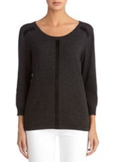 Scoop Neck Pullover with Faux Suede Trim