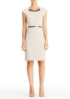 Sheath Dress with Beaded Neck and Cap Sleeves