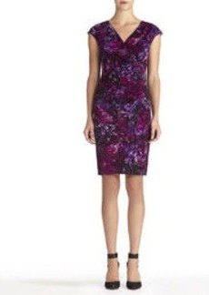 Sheath Dress with Cap Sleeves and Side Ruching