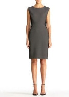 Sheath Dress with Faux Leather Side Panels