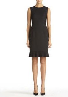 Sheath Dress with Pleated Hem